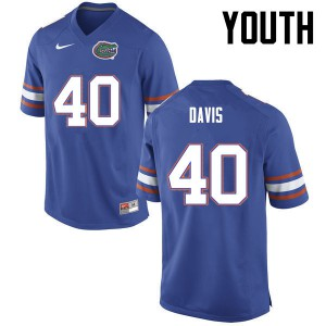Youth Florida Gators #40 Jarrad Davis College Football Blue 462782-780