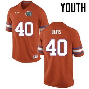 Youth Florida Gators #40 Jarrad Davis College Football Orange 925769-884