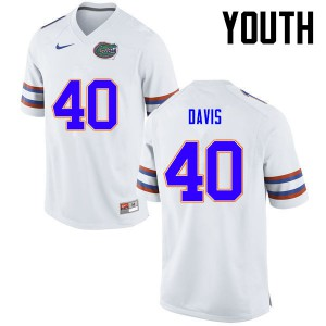 Youth Florida Gators #40 Jarrad Davis College Football White 826188-432