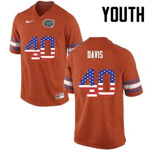 Youth Florida Gators #40 Jarrad Davis College Football USA Flag Fashion Orange 795702-874