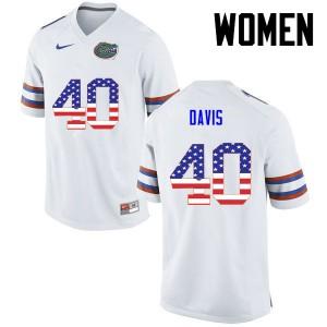 Women Florida Gators #40 Jarrad Davis College Football USA Flag Fashion White 535214-194