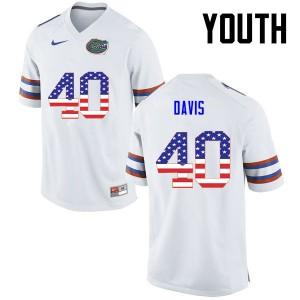 Youth Florida Gators #40 Jarrad Davis College Football USA Flag Fashion White 692278-229