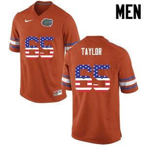 Men Florida Gators #65 Jawaan Taylor College Football USA Flag Fashion Orange 692908-249