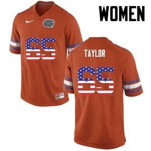 Women Florida Gators #65 Jawaan Taylor College Football USA Flag Fashion Orange 255786-161