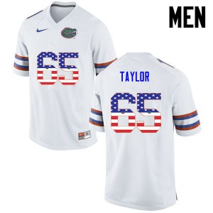 Men Florida Gators #65 Jawaan Taylor College Football USA Flag Fashion White 194529-325