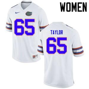 Women Florida Gators #65 Jawaan Taylor College Football Jerseys White 412412-986