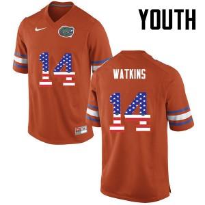 Youth Florida Gators #14 Jaylen Watkins College Football USA Flag Fashion Orange 743266-511