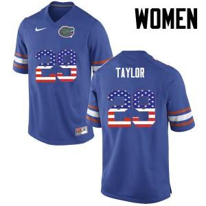 Women Florida Gators #29 Jeawon Taylor College Football USA Flag Fashion Blue 545565-270