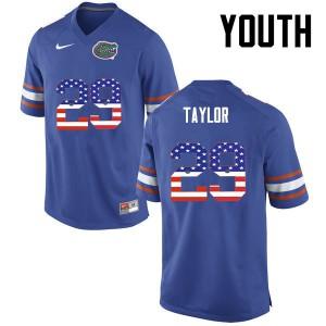 Youth Florida Gators #29 Jeawon Taylor College Football USA Flag Fashion Blue 299343-357