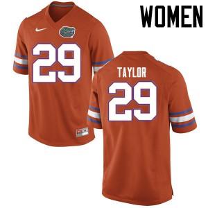Women Florida Gators #29 Jeawon Taylor College Football Jerseys Orange 809408-800
