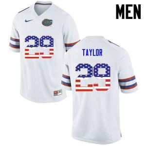 Men Florida Gators #29 Jeawon Taylor College Football USA Flag Fashion White 417288-840