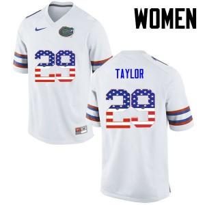 Women Florida Gators #29 Jeawon Taylor College Football USA Flag Fashion White 296102-538