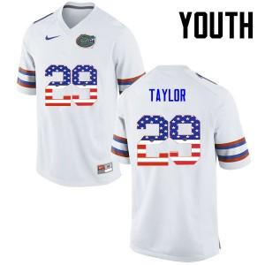 Youth Florida Gators #29 Jeawon Taylor College Football USA Flag Fashion White 853404-532