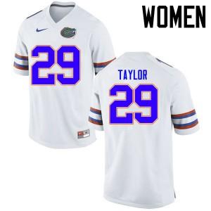 Women Florida Gators #29 Jeawon Taylor College Football Jerseys White 125544-521