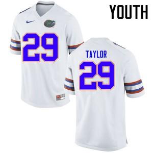 Youth Florida Gators #29 Jeawon Taylor College Football Jerseys White 845886-481
