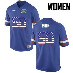 Women Florida Gators #50 Jeremiah Moon College Football USA Flag Fashion Blue 884349-579