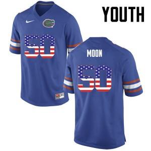 Youth Florida Gators #50 Jeremiah Moon College Football USA Flag Fashion Blue 306572-372