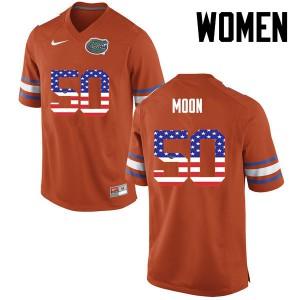 Women Florida Gators #50 Jeremiah Moon College Football USA Flag Fashion Orange 262380-116