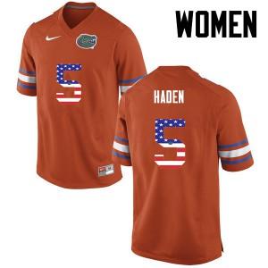 Women Florida Gators #5 Joe Haden College Football USA Flag Fashion Orange 689058-697
