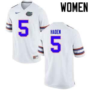 Women Florida Gators #5 Joe Haden College Football Jerseys White 816310-126