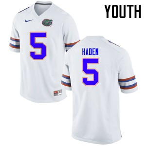 Youth Florida Gators #5 Joe Haden College Football Jerseys White 993834-229