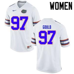 Women Florida Gators #97 Jon Gould College Football Jerseys White 426101-246