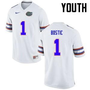 Youth Florida Gators #1 Jonathan Bostic College Football White 839567-617