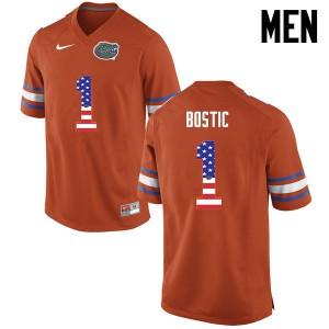 Men Florida Gators #1 Jonathan Bostic College Football USA Flag Fashion Orange 233450-650
