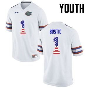 Youth Florida Gators #1 Jonathan Bostic College Football USA Flag Fashion White 248050-653