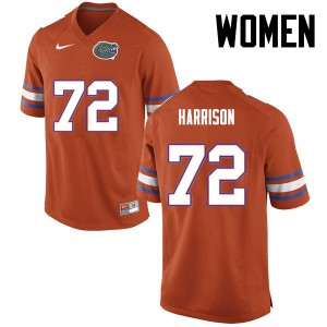 Women Florida Gators #72 Jonotthan Harrison College Football Orange 711100-360