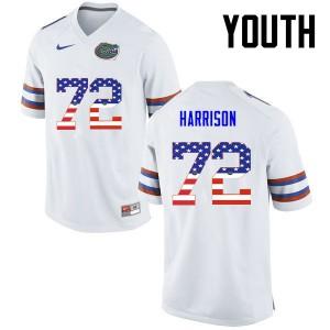 Youth Florida Gators #72 Jonotthan Harrison College Football USA Flag Fashion White 240161-167