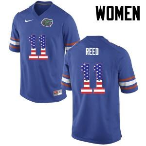 Women Florida Gators #11 Jordan Reed College Football USA Flag Fashion Blue 458653-603