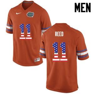 Men Florida Gators #11 Jordan Reed College Football USA Flag Fashion Orange 951187-543