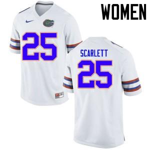 Women Florida Gators #25 Jordan Scarlett College Football Jerseys White 386595-656