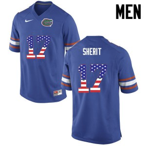 Men Florida Gators #17 Jordan Sherit College Football USA Flag Fashion Blue 431481-328