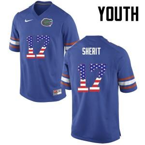 Youth Florida Gators #17 Jordan Sherit College Football USA Flag Fashion Blue 614060-119