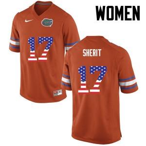 Women Florida Gators #17 Jordan Sherit College Football USA Flag Fashion Orange 988405-960