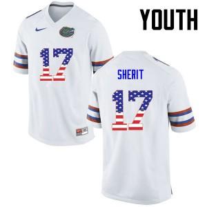 Youth Florida Gators #17 Jordan Sherit College Football USA Flag Fashion White 897555-907