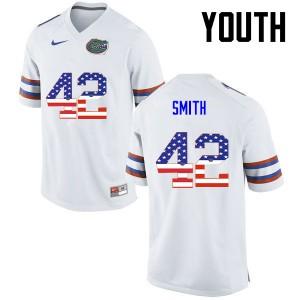 Youth Florida Gators #42 Jordan Smith College Football USA Flag Fashion White 133849-671