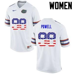 Women Florida Gators #98 Jorge Powell College Football USA Flag Fashion White 647327-615