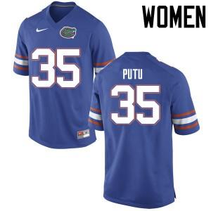 Women Florida Gators #35 Joseph Putu College Football Jerseys Blue 858241-326