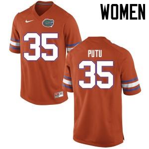 Women Florida Gators #35 Joseph Putu College Football Jerseys Orange 457227-887