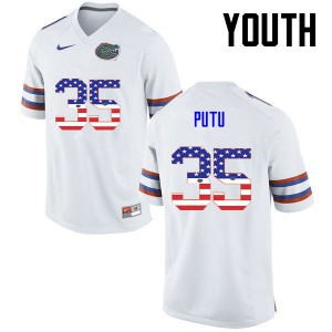 Youth Florida Gators #35 Joseph Putu College Football USA Flag Fashion White 847121-188