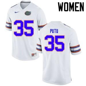 Women Florida Gators #35 Joseph Putu College Football Jerseys White 672029-815