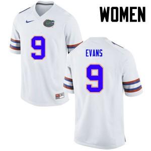 Women Florida Gators #9 Josh Evans College Football White 244587-403