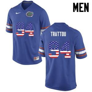 Men Florida Gators #94 Justin Trattou College Football USA Flag Fashion Blue 547026-822