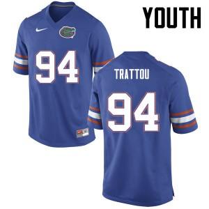 Youth Florida Gators #94 Justin Trattou College Football Blue 687747-118