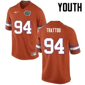 Youth Florida Gators #94 Justin Trattou College Football Orange 670037-249