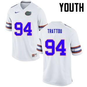 Youth Florida Gators #94 Justin Trattou College Football White 277584-200