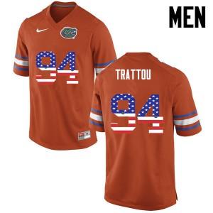 Men Florida Gators #94 Justin Trattou College Football USA Flag Fashion Orange 618741-826
